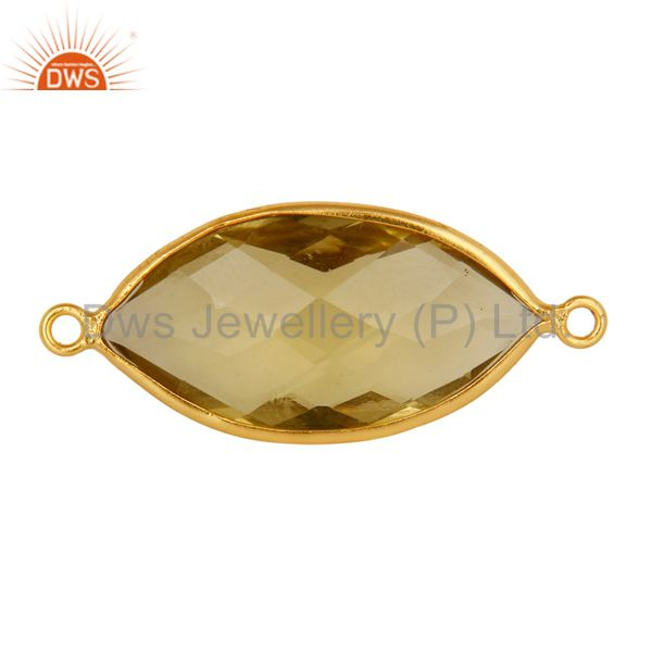 Bezel-Set Lemon Topaz Gemstone Sterling Silver With Gold Plated Connector Jewelr