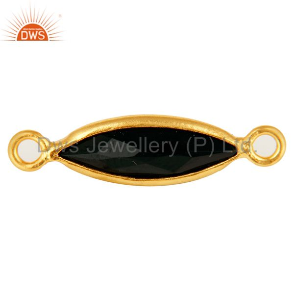 18K Gold Plated Sterling Silver Black Onyx Marquoise Gemstone Connector Jewelry