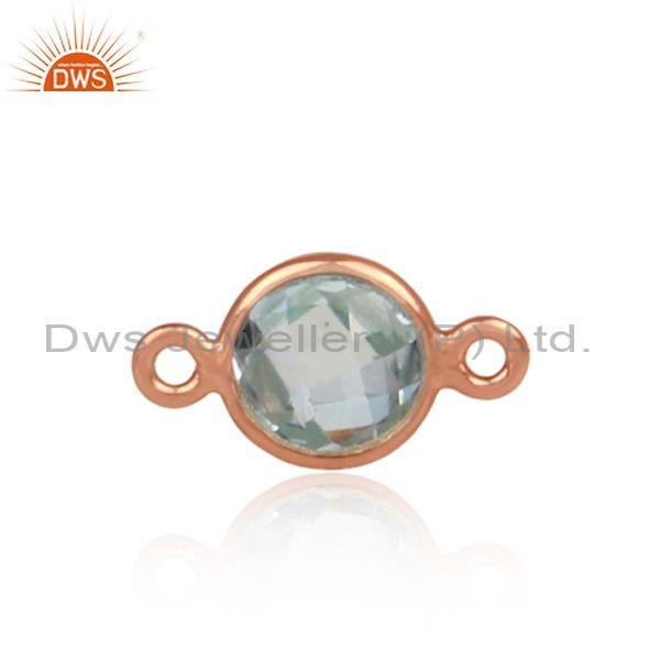 Blue Topaz Set Rose Gold On Sterling Silver Jewelry Findings