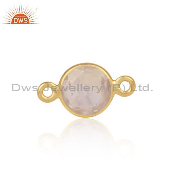 Round Cut Rose Quartz Set Gold On 925 Silver Jewelry Finding