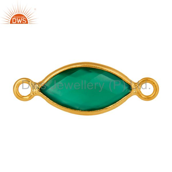 Marquise Cut Green Onyx Gemstone Gold Plated Sterling Silver Connector