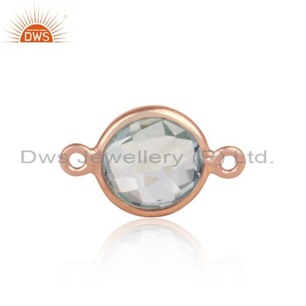 Blue Topaz Set Rose Gold On Silver Round Jewelry Findings