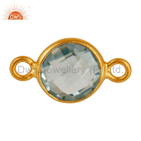 Natural Blue Topaz Gemstone Sterling Silver Connector - Yellow Gold Plated