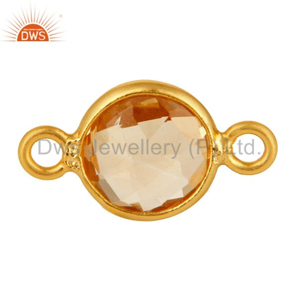Natural Citrine Gemstone Bezek-Set Gold Plated Sterling Silver Connector Jewelr