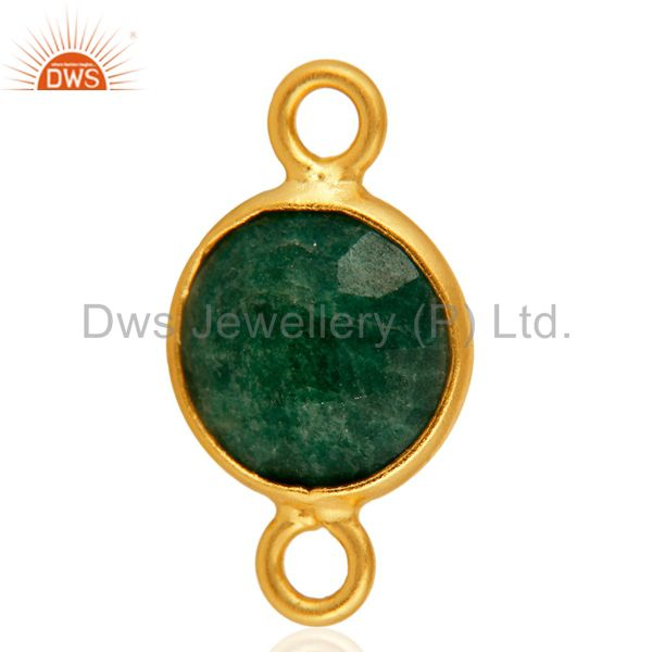 Natural Emerald Green Corundum Gemstone Sterling Silver Connector - Gold Vermeil