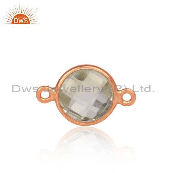 Green amethyst set rose gold on 925 silver jewelry findings