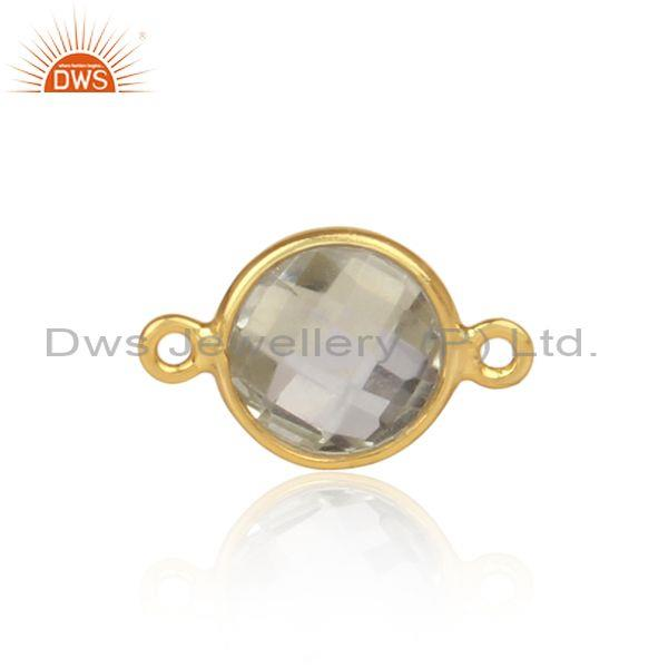 Green Amethyst Set Gold On Sterling Silver Jewelry Findings