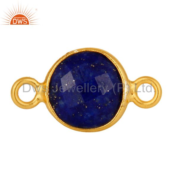 18K Yellow Gold Plated Sterling Silver Lapis Lazuli Gemstone Connector Jewelry