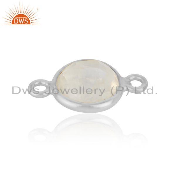 Sterling Silver 925 Rainbow Moonstone Gemstone Connector Jewelry