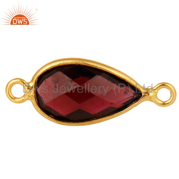 925 Sterling Silver Garnet Gemstone Bezel Set Connector With Gold Plated
