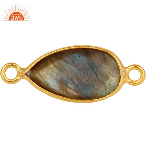 Bezel Set Labradorite Gemstone Gold Plated Sterling Silver Connector