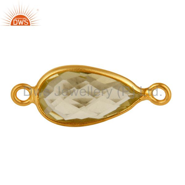 Natural Lemon Topaz 18K Gold Plated Over Sterling Silver Connector Jewelry