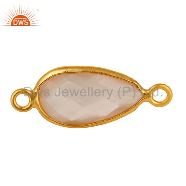 18K Gold Plated Over Sterling Silver Natural Rose Quartz Bezel-Set Connector
