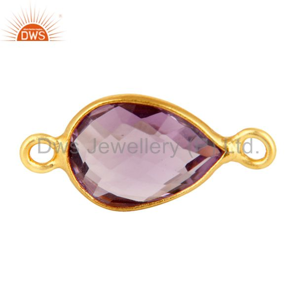 Faceted Amethyst Gemstone Sterling Silver Connector With Yellow Gold Plated