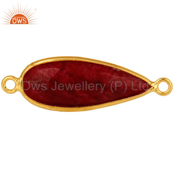 18k gold plated sterling silver dyed ruby corundum bezel set connector jewelry