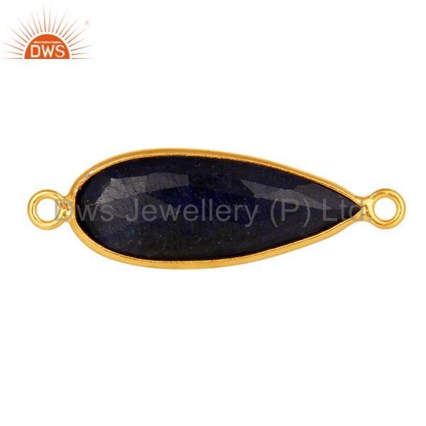 18k yellow gold over sterling silver sapphire blue corundum connector jewelry