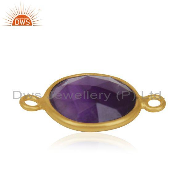 Amethyst gemstone gold plated 925 silver jewelry connector findings manufacturer