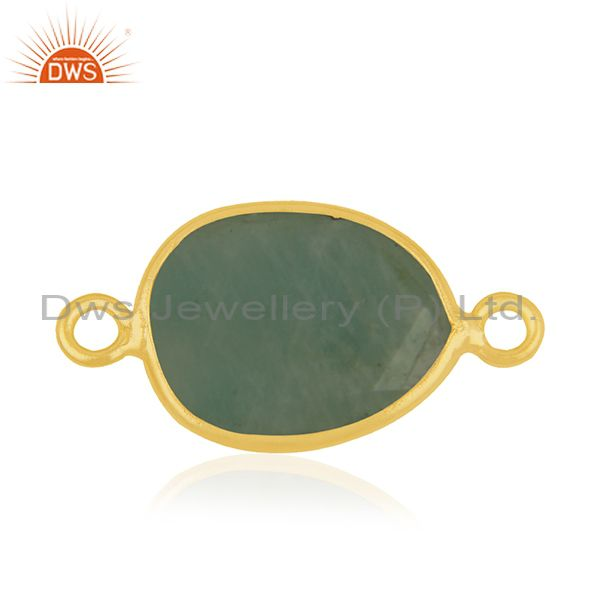 Amazonite gemstone gold plated 925 silver connectors jewelry findings
