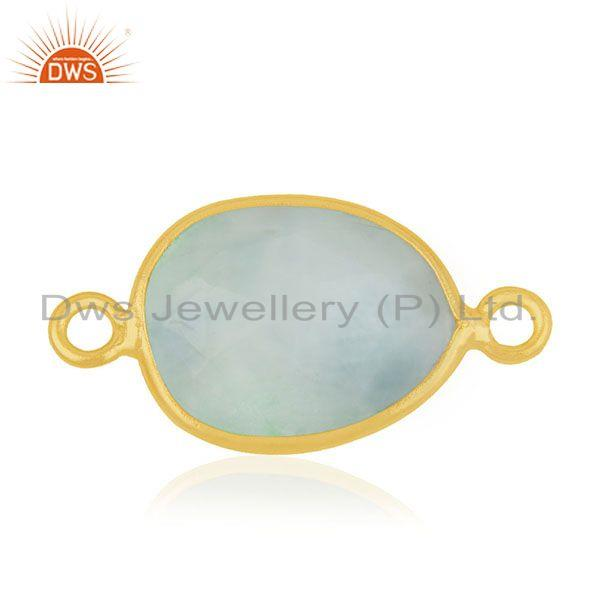 Larimar gemstone 925 silver gold plated jewelry connectors wholesale suppliers