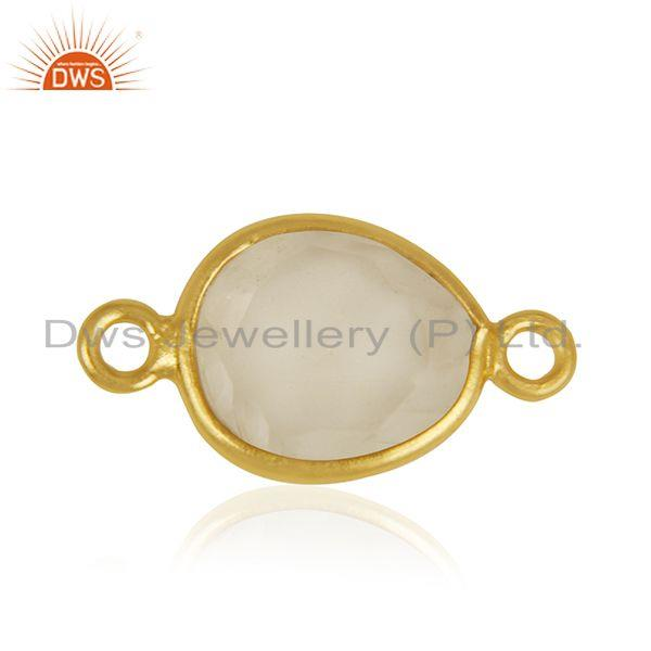 Lemon Topaz Gemstone 925 Silver Gold Plated Jewelry Connectors Wholesale