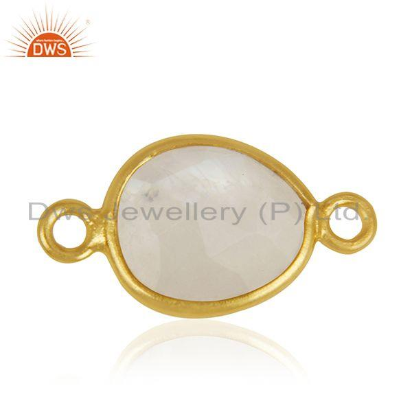 Rainbow Moonstone 925 Silver Gold Plated Jewelry Connectors Wholesale India