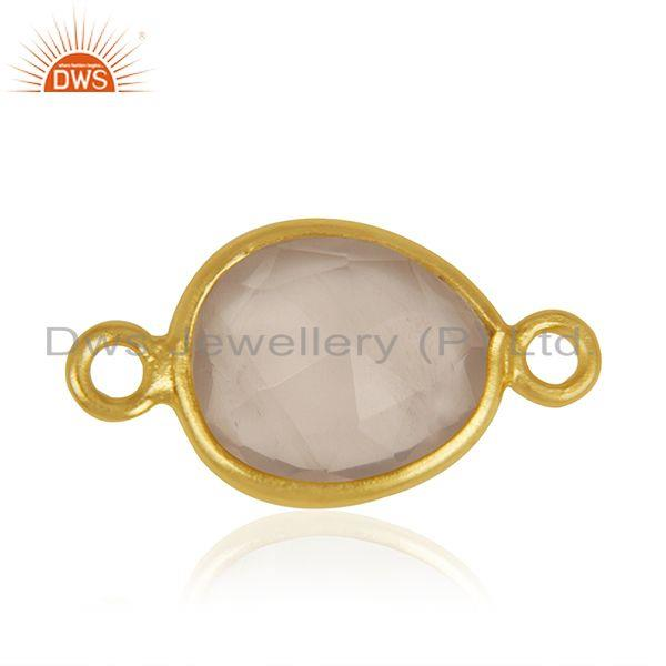Rose Quartz Gemstone Gold Plated 925 Silver Jewelry Connector Manufacturer India
