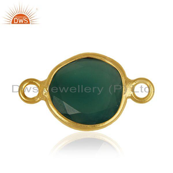 Green Onyx Gemstone Silver Customized Connectors Manufacturer from India