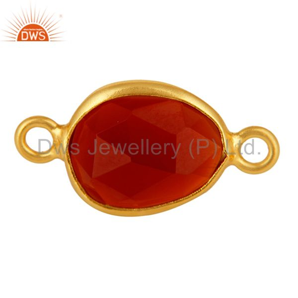 Gold Plated Sterling Silver Bezel-Set Red Onyx Gemstone Double Link Connector
