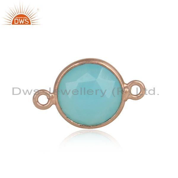 Aqua Chalcedony Rose Gold Plated Sterling Silver Connector