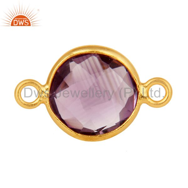 Round Cut Amethyst Gemstone Sterling Silver With Gold Plated Connector Jewelry