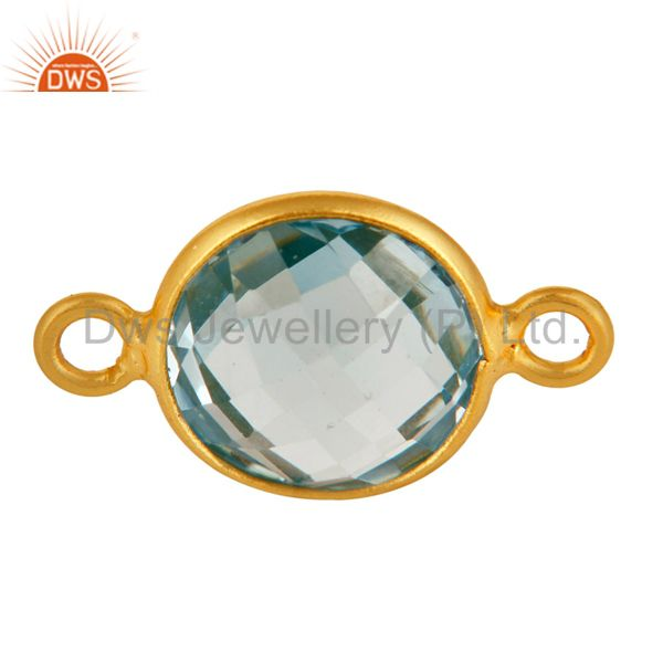 Round Blue Topaz Gold Plated Sterling Silver Bezel-Set Double Link Connector
