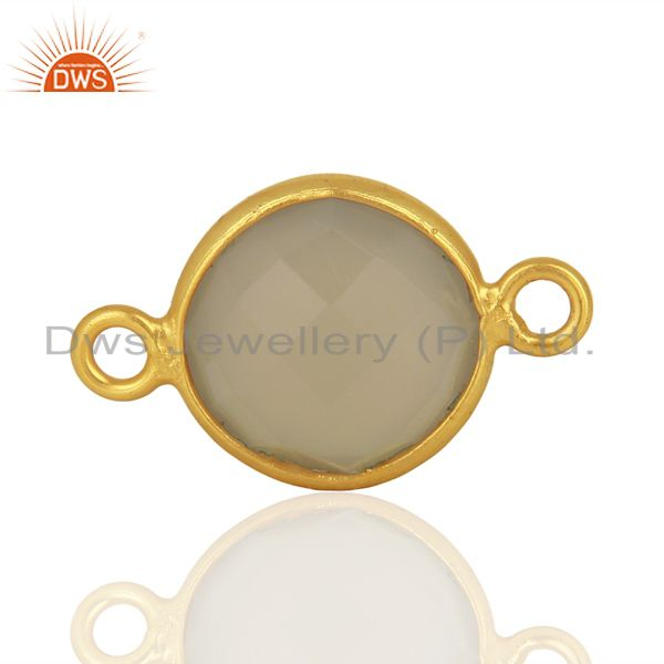 Gray Chalcedony Gemstone Gold Plated Silver Connector Jewelry