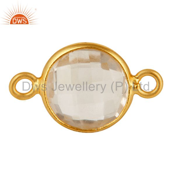 Round Crystal Quartz Gold Plated Sterling Silver Bezel Double Link Connector
