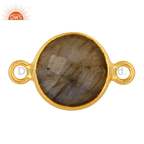 Natural Labradorite Gemstone Round Cut Gold Plated Sterling Silver Connector