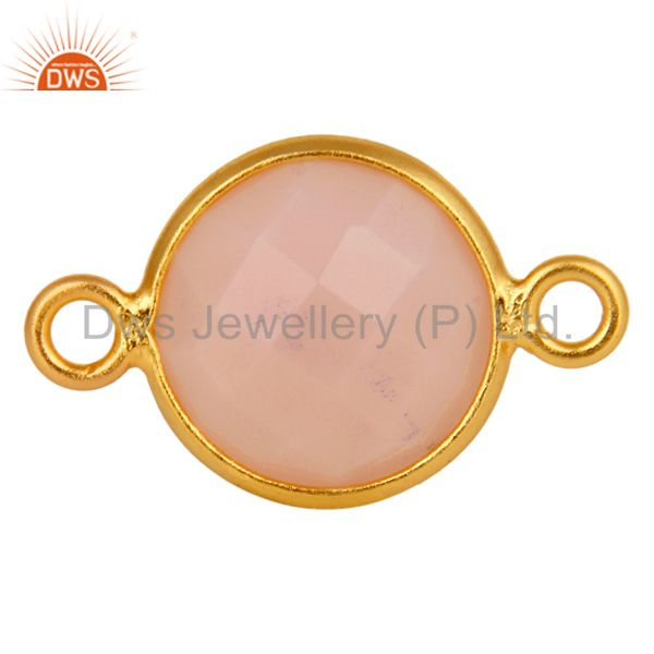 10mm Round Rose Chalcedony Gemstone 18K Gold Plated Sterling Silver Connector