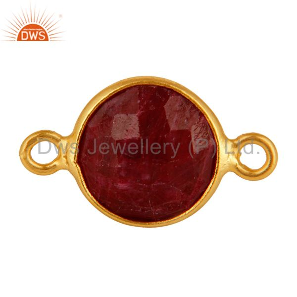 18K Gold On Sterling Silver Bezel-Set Dyed Ruby 10mm Round Connectors Jewelry