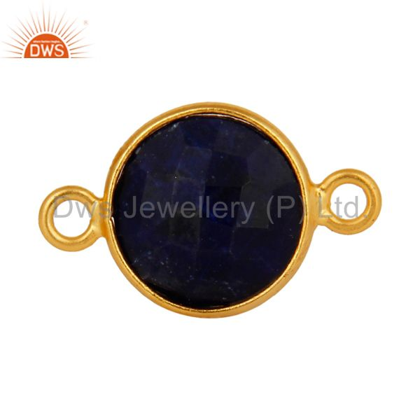 Faceted Natural Blue Corundum Gemstone 18K Gold Plated Sterling Silver Connector