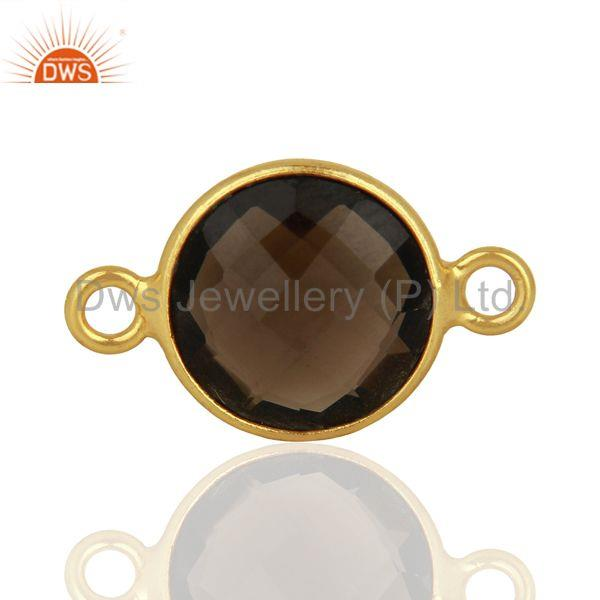 Smoky Quartz Gemstone Gold Plated Silver Connector Jewelry Supplier
