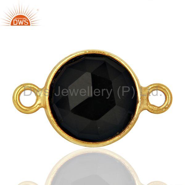 Black Onyx Connectors 14K Gold Plated 925 Sterling Silver Findings Jewelry