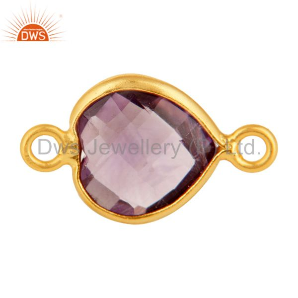 18K Gold Plated Sterling Silver Amethyst Heart Shape Gemstone Connector