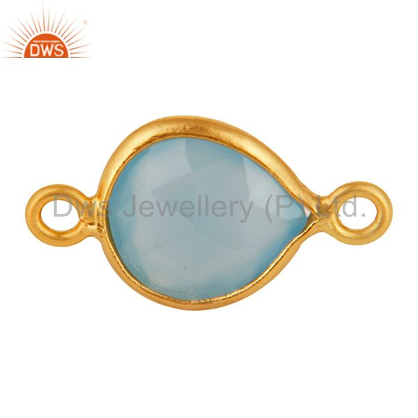 Faceted Blue Aqua Chalcedony Gemstone Sterling Silver Connector - Gold Plated