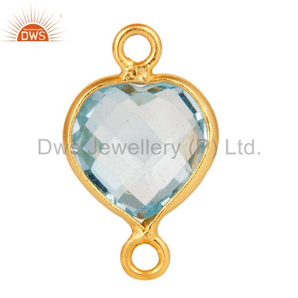 18K Gold Plated Sterling Silver Blue Topaz Heart Shape Gemstone Connector