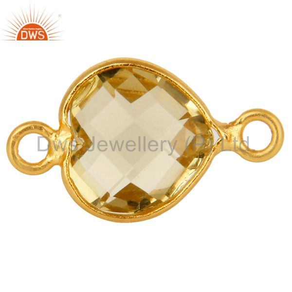 Natural Lemon Topaz Gemstone Heart 18K Gold Plated Sterling Silver Connector