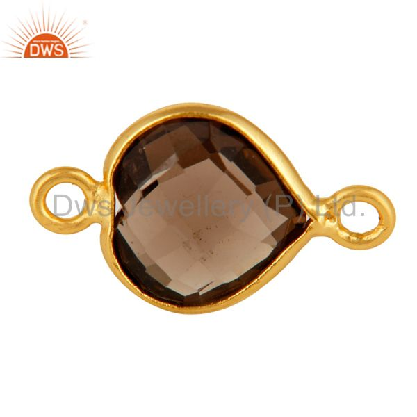 18K Gold Plated Sterling Silver Smoky Quartz Heart Shaped Gemstone Connector