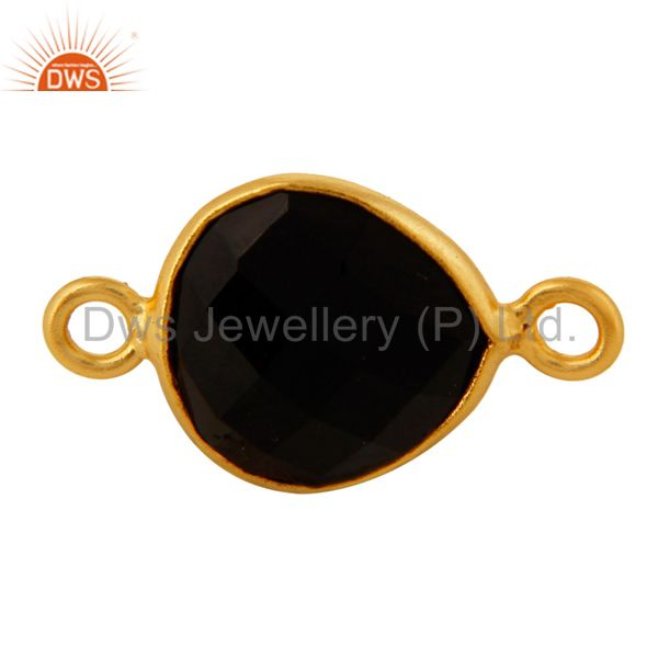 18K Gold Plated Sterling Silver Bezeled Black Onyx Gemstone Heart Connector