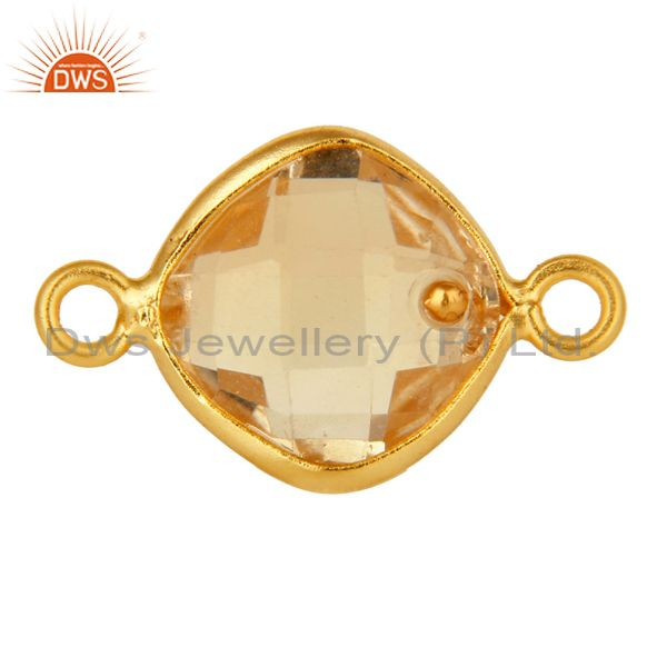 Natural Citrine Gemstone 18K Gold Plated Sterling Silver Bezel Set Connector