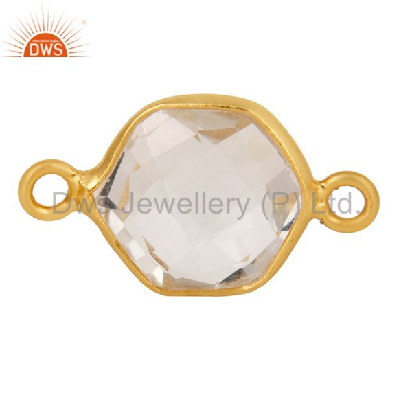 Crystal Quartz Gemstone Gold Plated Sterling Silver Bezel Set Connector