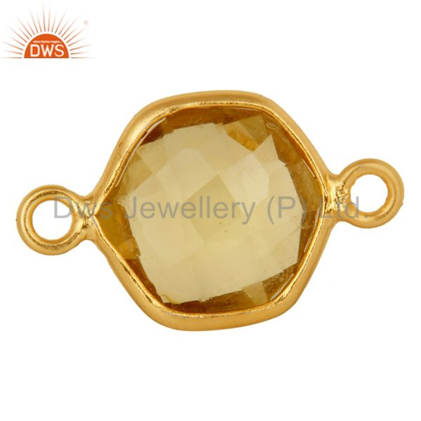 Lemon Topaz Gemstone 18K Gold Plated Sterling Silver Connector Jewelry