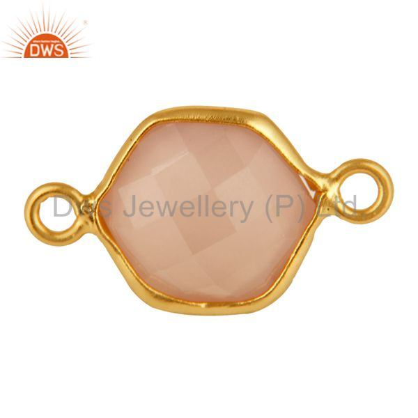 Faceted rose chalcedony gemstone hexagon shape silver connector - gold vermeil
