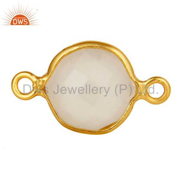 18K Gold Plated Silver White Chalcedony Gemstone Bezel Set Gemstone Connector